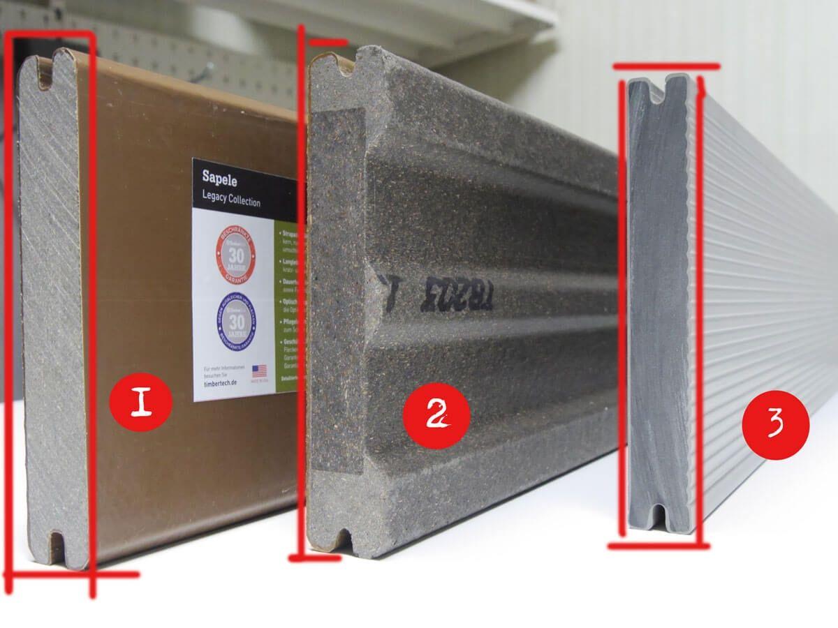 Unterschied WPC Terrassen mit Kunststoffmantel
