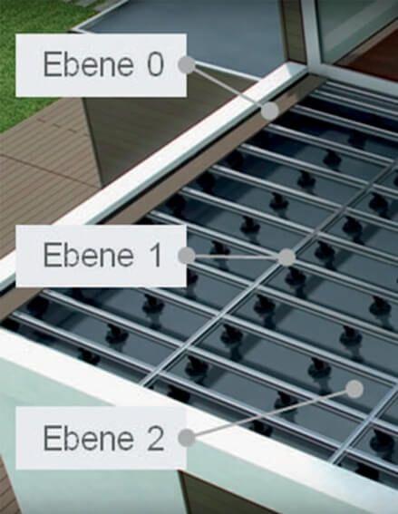 Ebene der harten Bedachung auf WPC Dachterrasse Flachdach