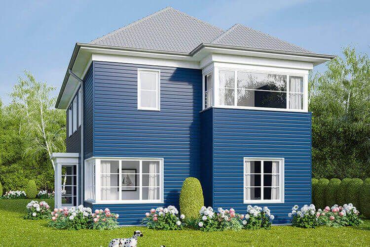 Fassadenverkleidung blau