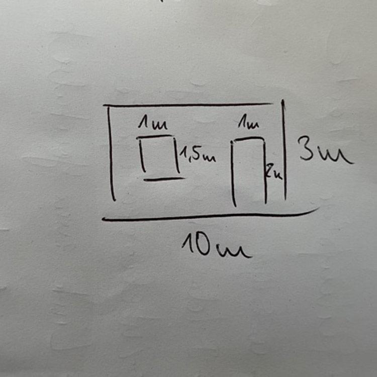 Frontansicht Skizze zur Berechnung der Kosten