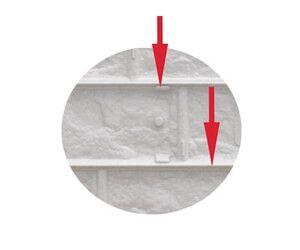 Stabile Verstrebungen an der Bruchsteinplatte
