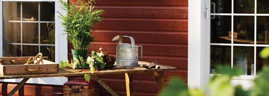 Gartenlaube verkleiden mit Canexel Fassadenpaneelen